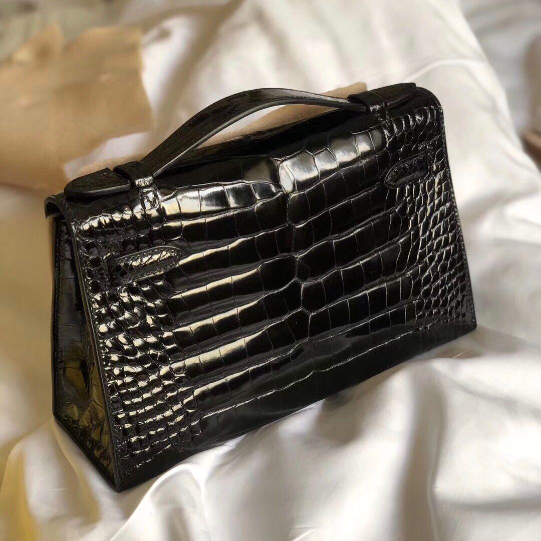 愛馬仕手拿包價格圖片 Hermes MiniKelly Pochette CK89黑色 Noir 供珠美洲鱷