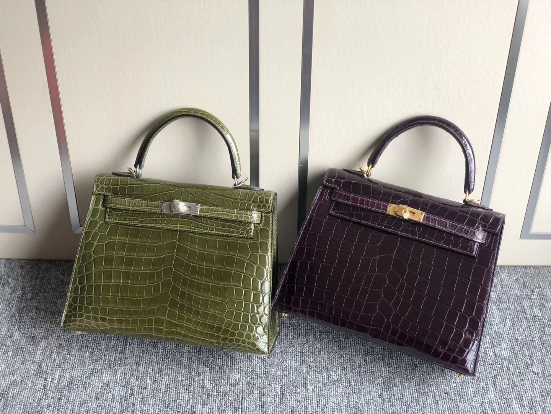 愛馬仕凱莉包專櫃價格 Hermes Kelly25cm尼羅鱷 6H橄欖綠 9G水晶紫