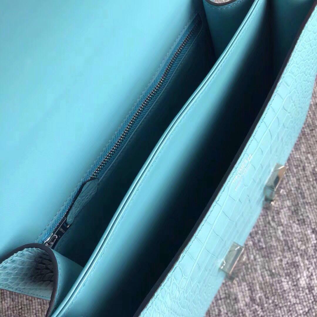 愛馬仕康斯坦空姐包 Hermes Constance 24cm 3z Blue saint cry 聖西爾藍