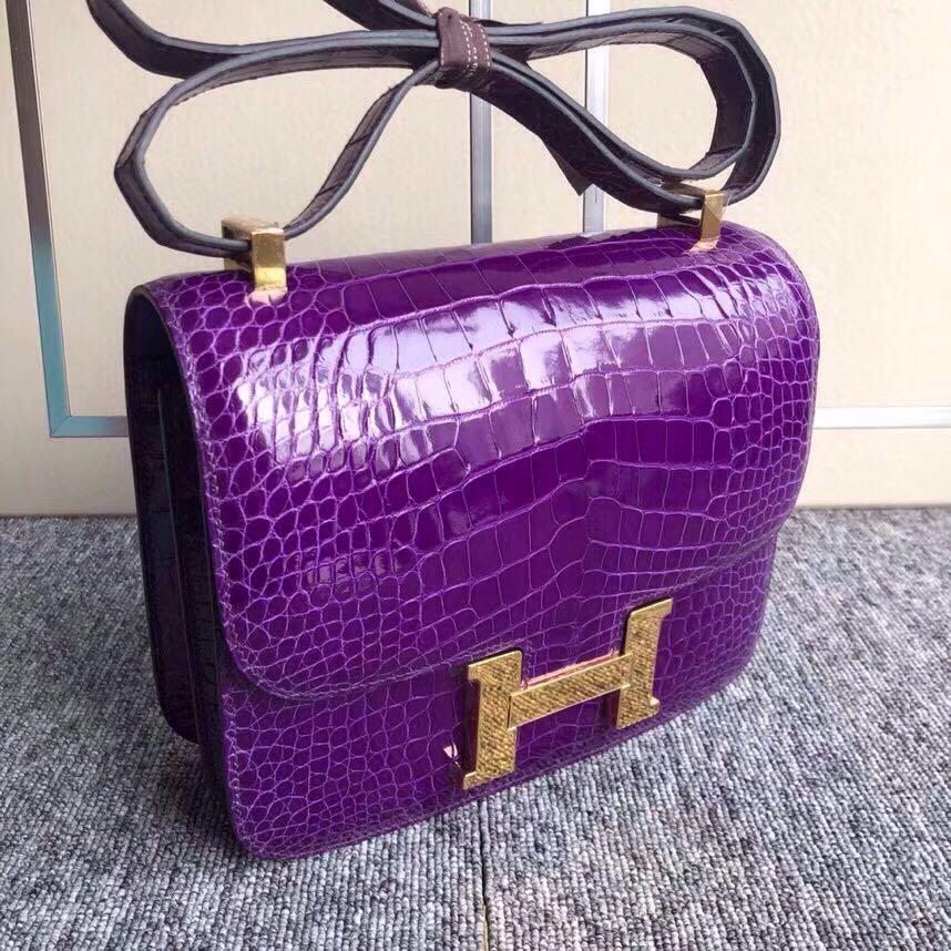 香港東區愛馬仕康斯坦空姐包 Hermes Constance 24cm 美洲鱷5L極度紫 夢幻紫