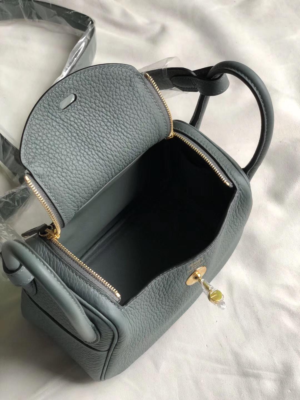 Hermes Mini Lindy Handbag 19cm cc63 vert amande 杏綠色 Clemence