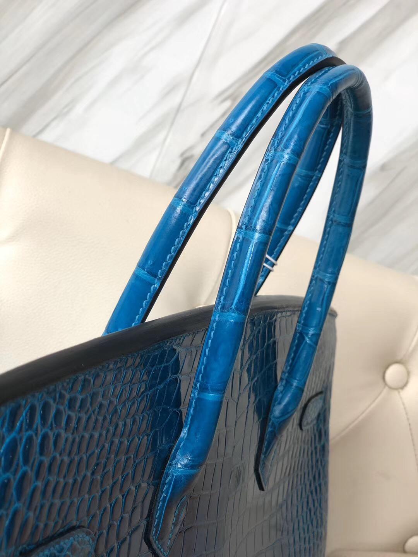 香港石澳Hermes Birkin 35cm 亮面倒V澳洲灣鱷 7W 伊茲密爾藍 Blue Izmir