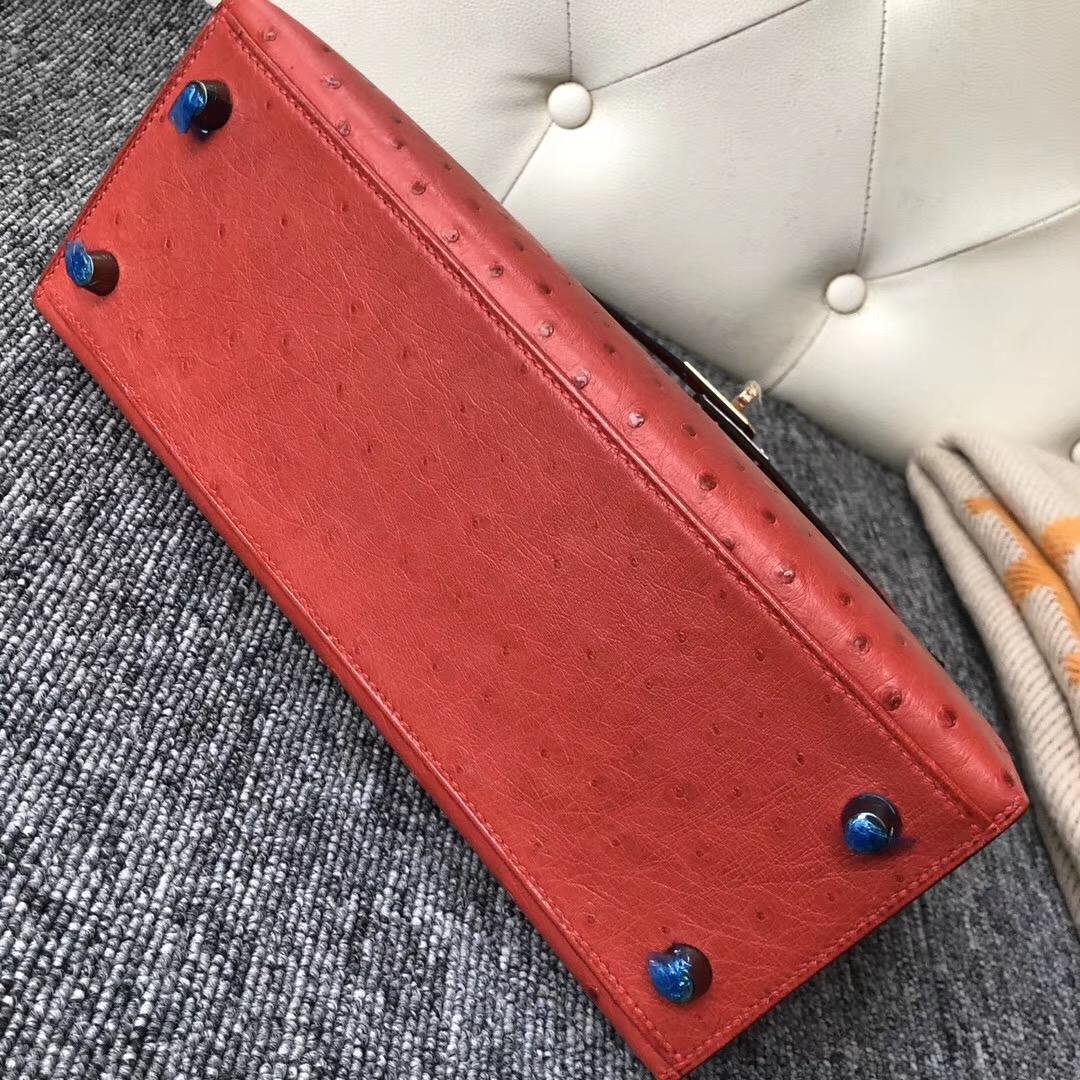 香港灣仔區愛馬仕凱莉包定制 Hermes Kelly 25cm Q5國旗紅 Rouge casaque鴕鳥皮
