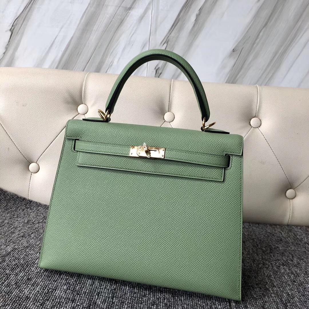 Hong Kong Hermes Kelly 25cm 3I牛油果綠 Vert Criquet 蟋蟀綠 金扣