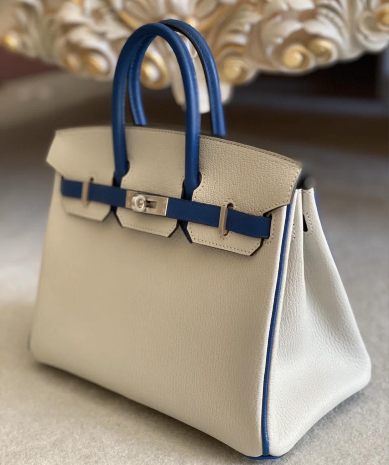 Hong Kong Hermes Birkin 25cm Handbag Chevre CK80珍珠灰/CK73寶石藍