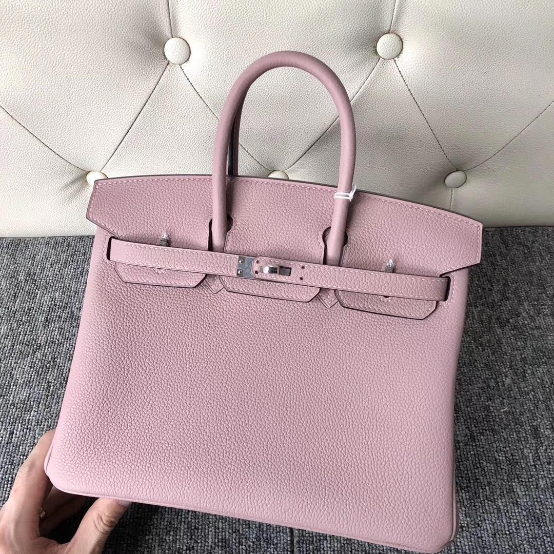 Hong Kong Hermes Birkin 25cm Handbag 4W Glycine 紫藤粉 togo 金扣