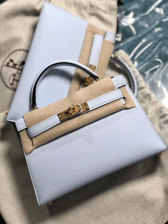 香港東區愛馬仕 Hermes kelly mini 二代 T0 Blue Brume 霧藍色 什麼價格