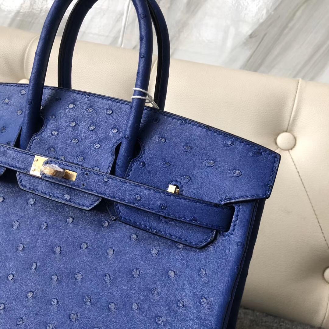 香港西貢區愛馬仕鉑金包價格 Hong Kong Hermes Birkin 25cm Ostrich 彩藍色