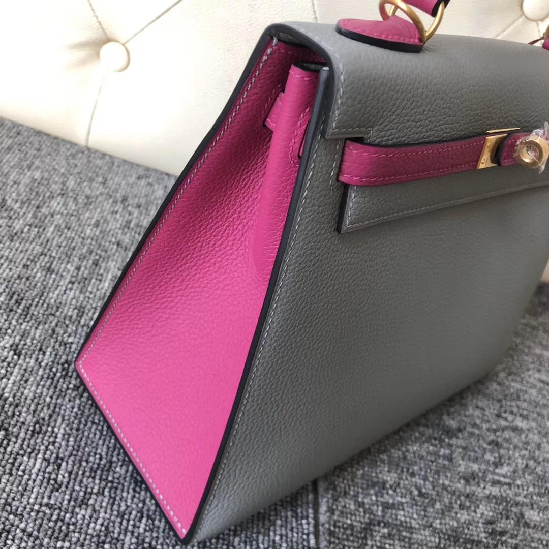 Taiwan Hermes Kelly 25cm 4Z海鷗灰 Girls Mouette L3玫瑰紫 Rose Purple