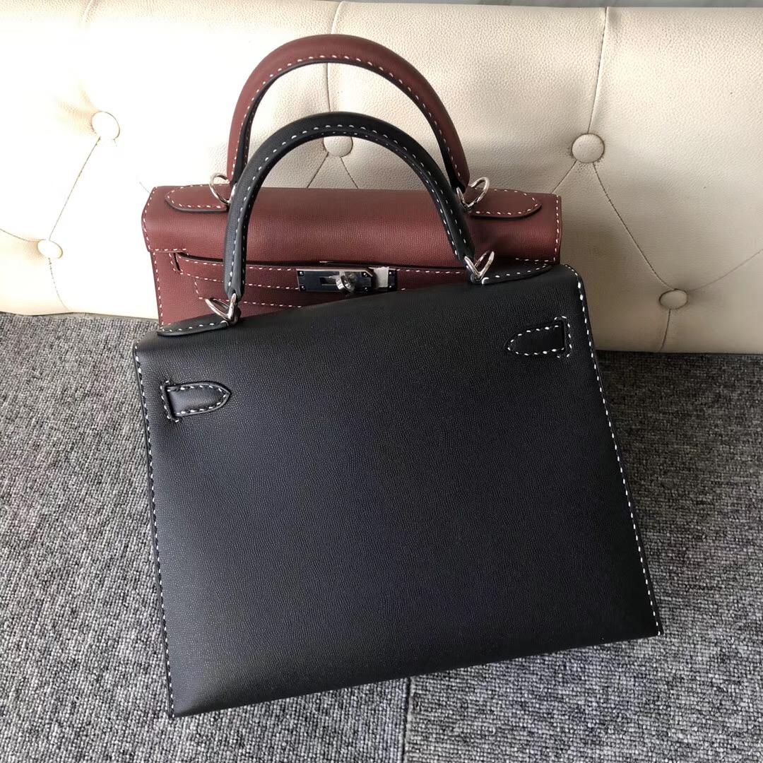 Hong Kong Hermes Kelly 28cm Graine Monsieur Ck89 Noir 黑白双色線