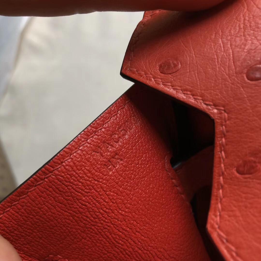 臺灣新北市 Taiwan Hermes Birkin 30cm Ostrich Q5 Rose casaque 國旗紅