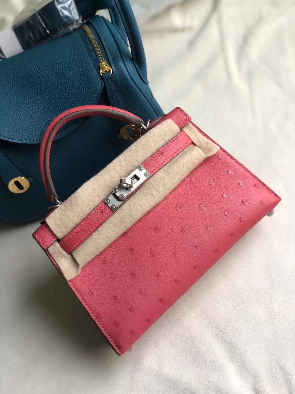 香港香港島中西區 Hong Kong Hermes Kelly Mini 2代 E5 Rose Tyrien 桃紅色 Ostrich