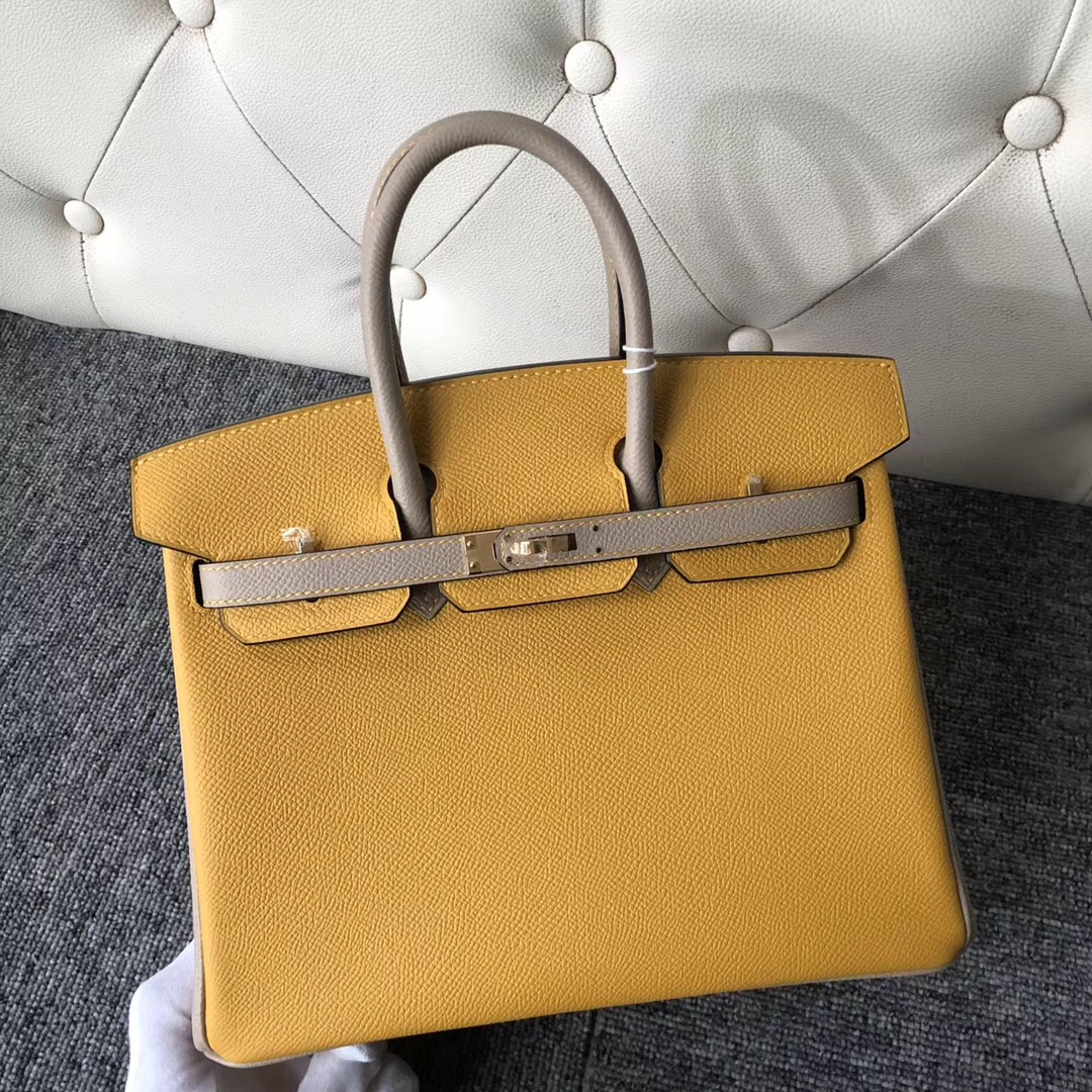 四季酒店 Macao Hermes Birkin 25cm 9D Amber 琥珀黃 S2 Trench 風衣灰