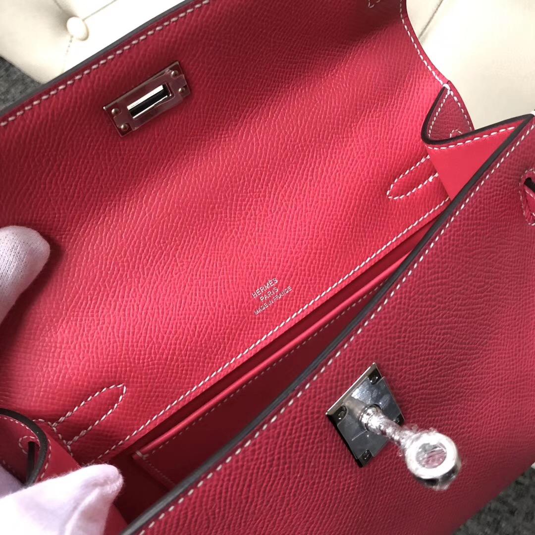 Macao Hermes MiniKelly Pochette Epsom E5糖果粉 Rose Tyrien 24k 五金