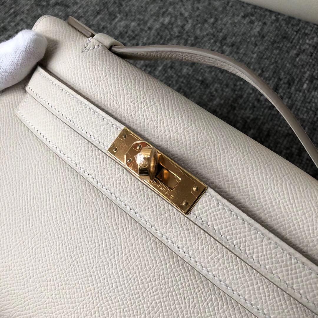 Macao Hermes MiniKelly Pochette Epsom CK10奶昔白 Craie 24k五金