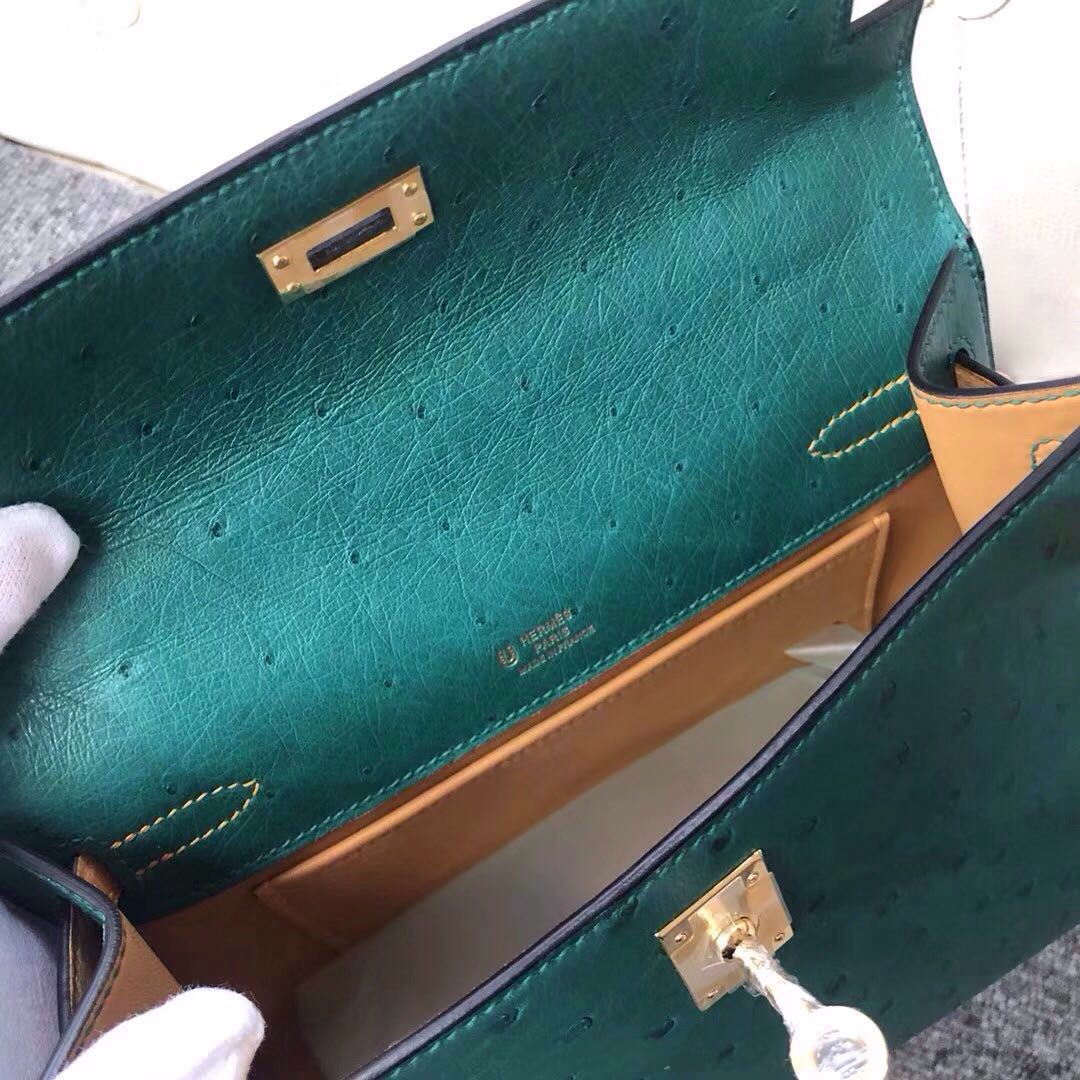 Macao Hermes MiniKelly Pochette Ostrich U4 Vert Verigo絲絨綠/1H Toffee 太妃色
