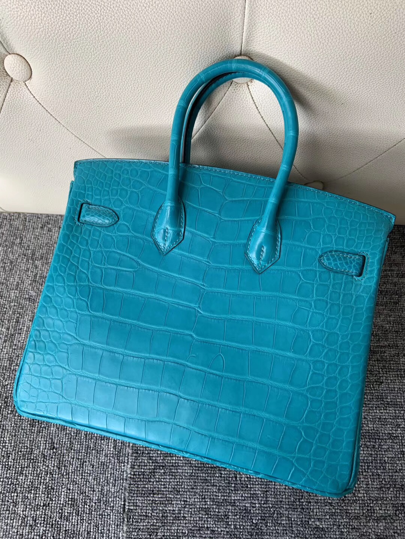 愛馬仕鉑金包定制多少錢 Hermes Birkin 25cm 7F Blue Paon 孔雀藍 霧面方塊 美洲鱷魚