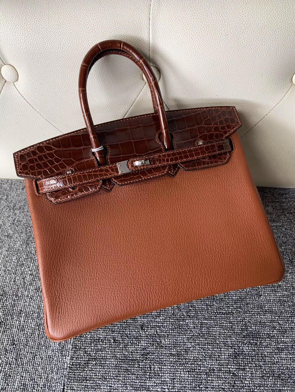 Macao Hermes Birkin25cm Touch Chevre 6C古銅色拼 CC31 Miel蜜糖棕