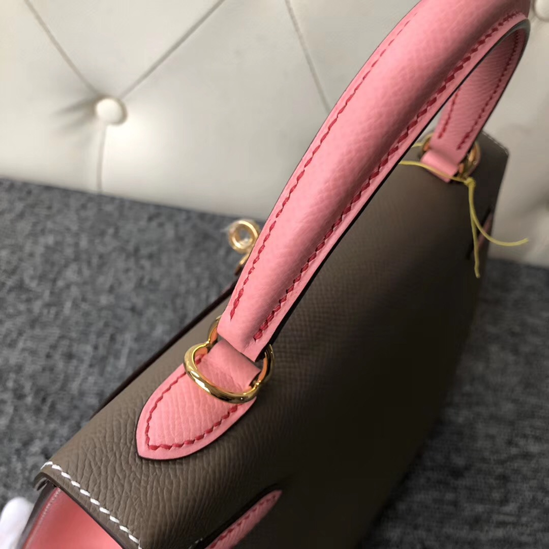 愛馬仕2019刻印 Hermes Kelly Size 25cm HSS Ck18 Etoupe 1Q Rose Confetti