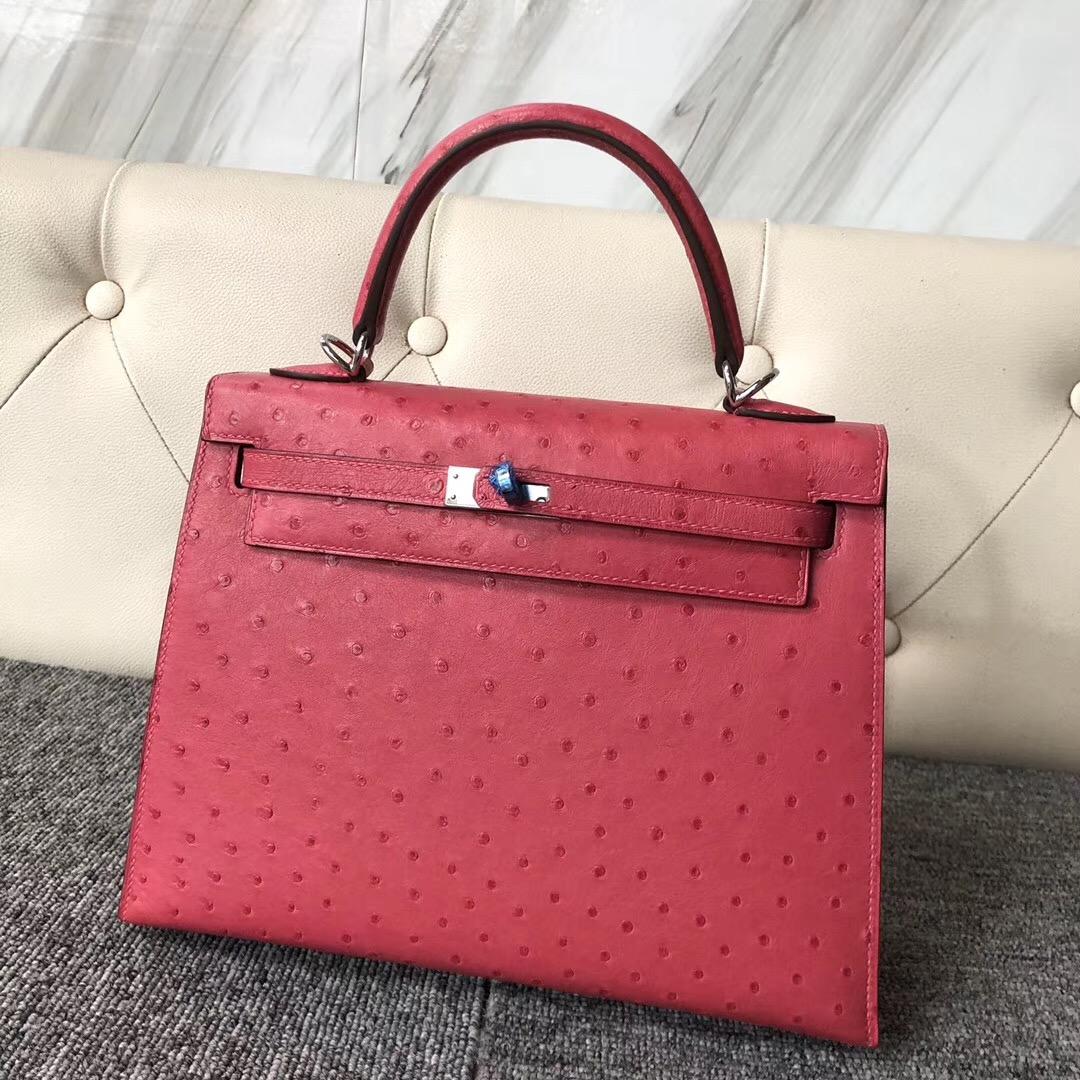 愛馬仕凱莉包定制價格 Taiwan Hermes Kelly 25cm E5 Rose Tyrien 桃紅色 Ostrich