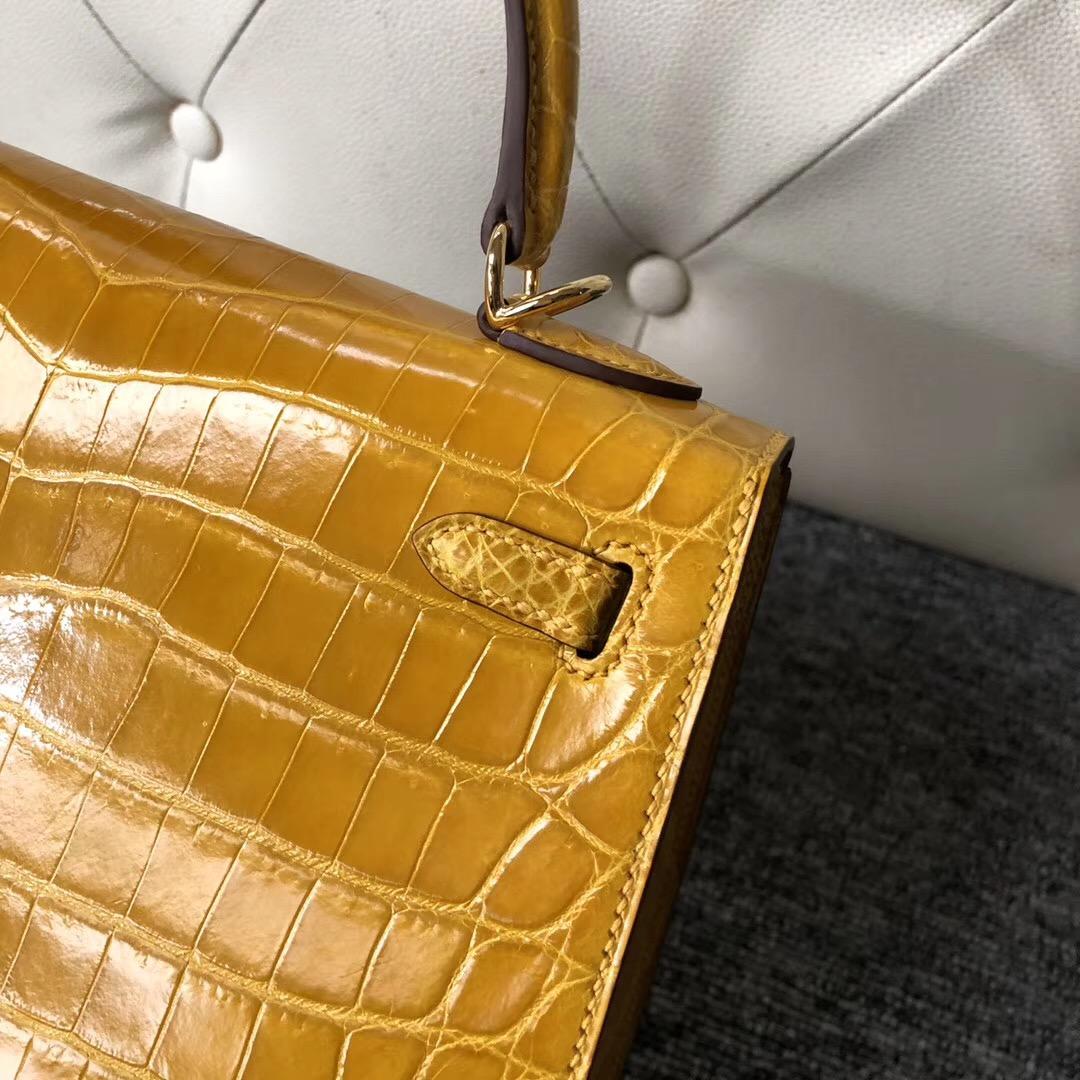 Xinbei Taiwan Hermes Kelly 25cm 9D Amber 琥珀黃 尼羅鱷 HCP鱷魚皮