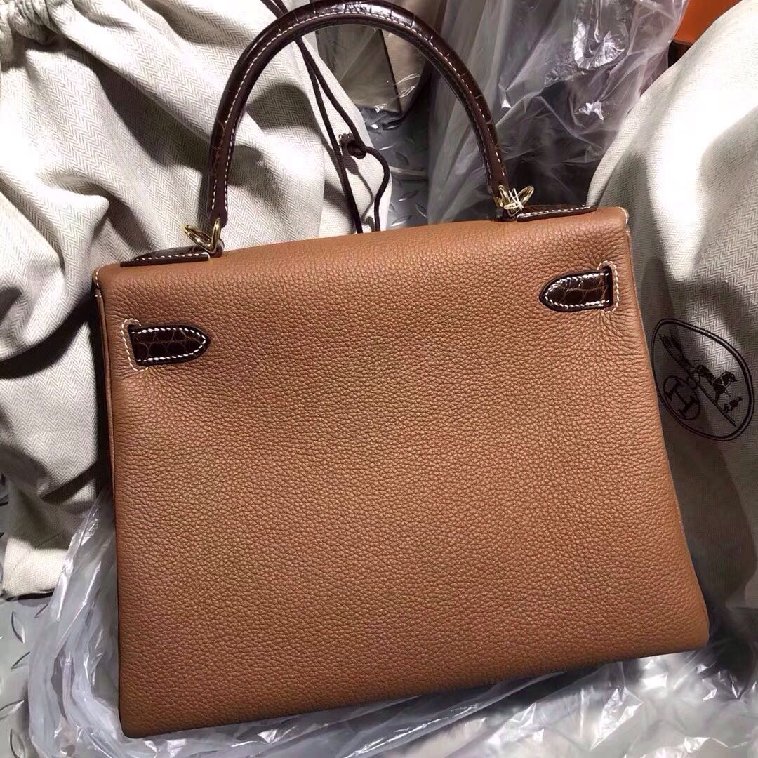 Hermes Kelly Touch 25cm CK37 Gold Togo 手腕 CC31蜜糖棕美洲鱷