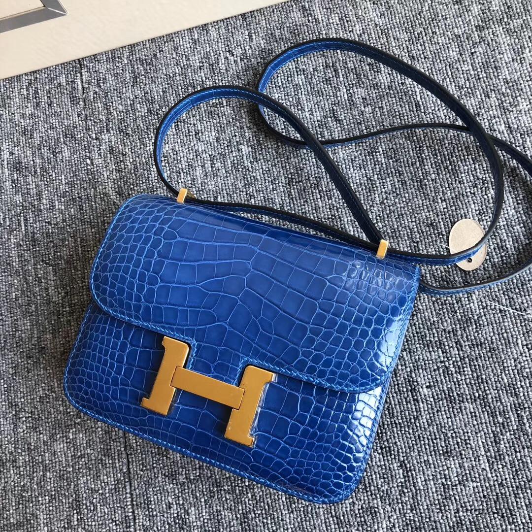 Hermes Constance 19cm I7 Blue Zellige 琉璃藍 金扣 HCP 美洲鱷魚