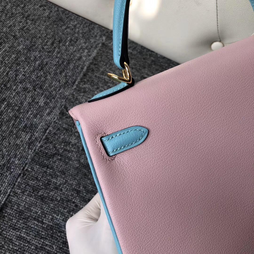 Hermes Kelly 三拼色 25cm 9R lemon 3Q Rose Sakura 3P Blue Atoll