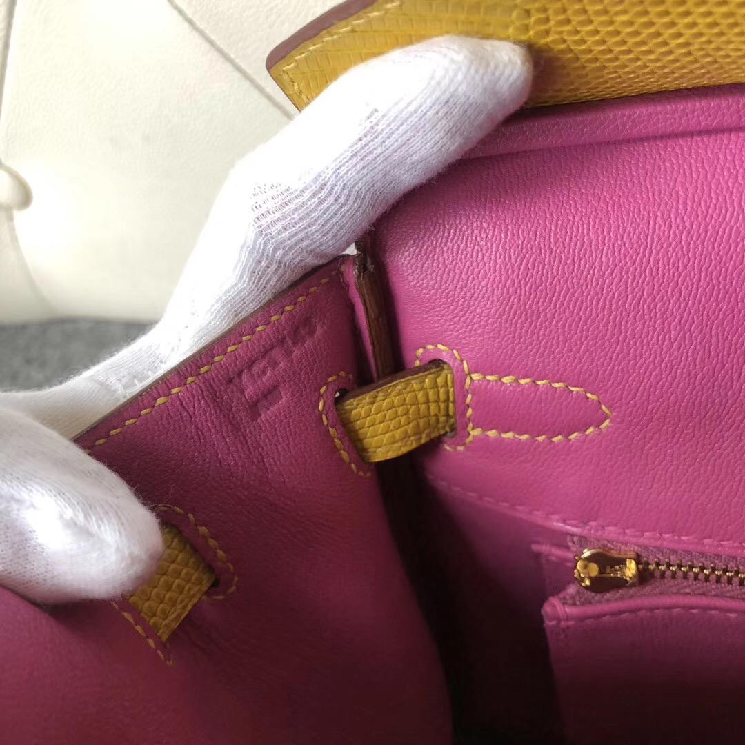 香港新界 Hermes Birkin 25cm Lizard 9D芥末黃 內拼 9I Rose Magnolia