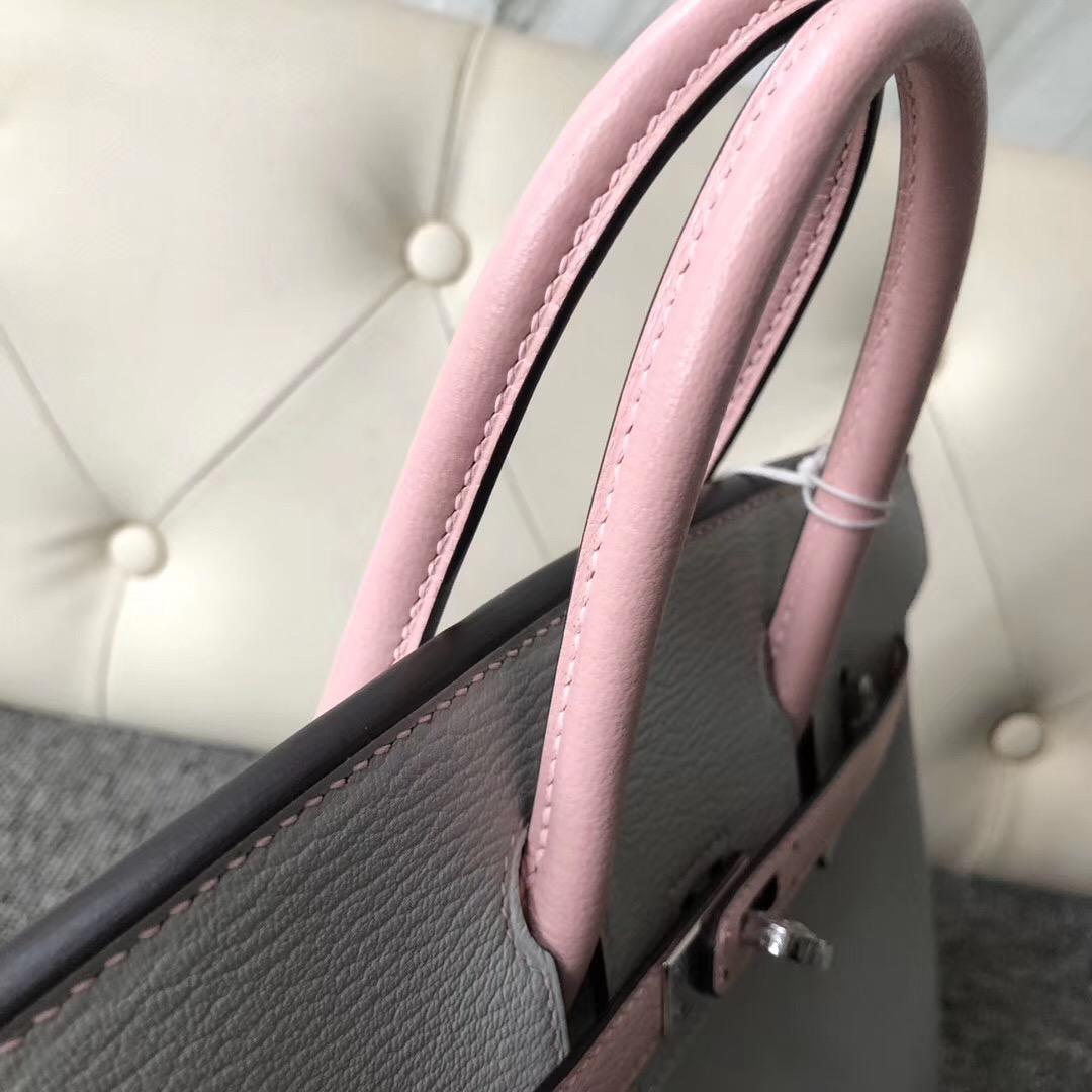 Hermes Birkin 25cm HSS Chevre CK80 Pearl Grey 3Q Rose Sakura