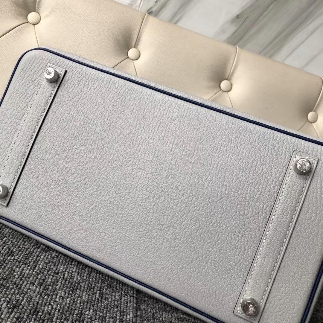 Hermes Birkin HSS 30cm Chevre CK80 grey pearl/CK73 Blue Sapphire