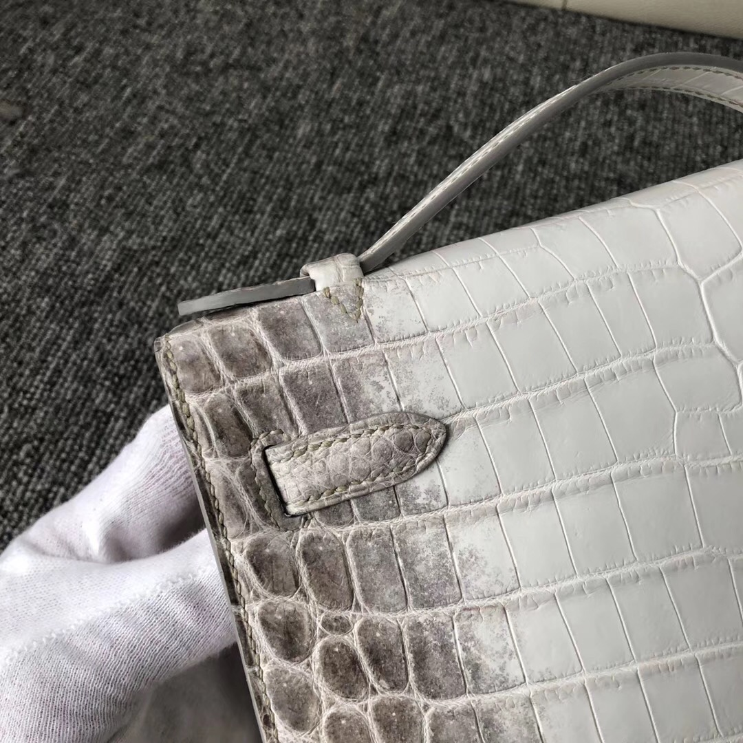 Customized Hermes MiniKelly Pochette 22cm Himalaya Matte Crocodile 喜馬拉雅