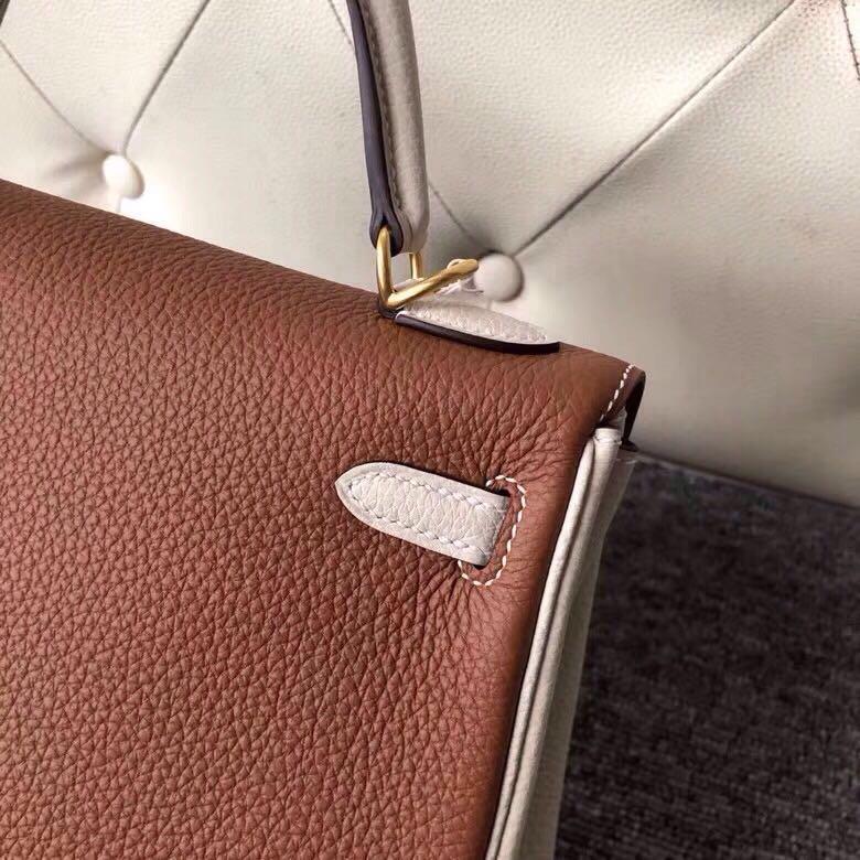 Hermes Kelly 25cm HSS Togo CK37 金棕色 Gold/CK10 奶昔白 craie