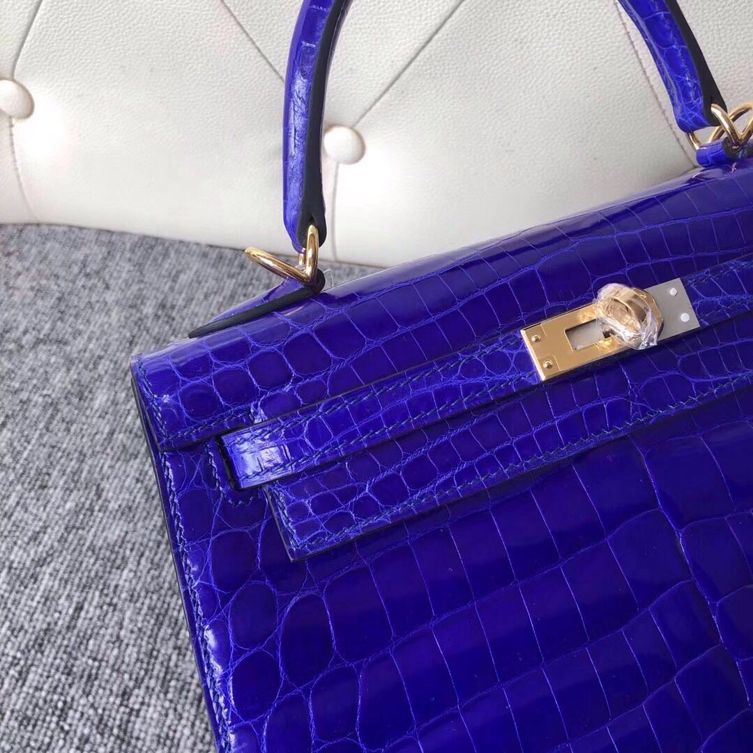 Taichung City Hermes Kelly 25cm 7T 電光藍 Blue eletric 金扣 拱珠鱷魚皮