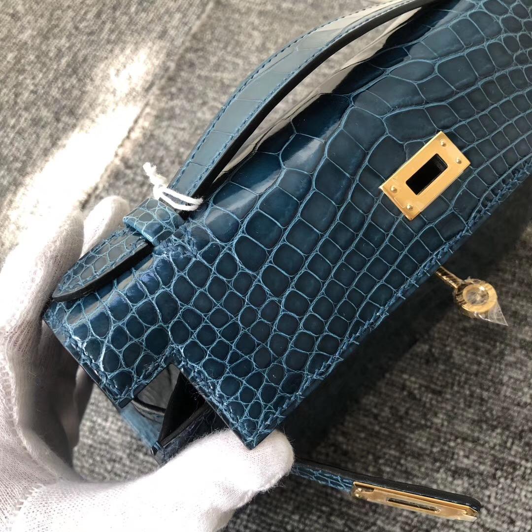 Hermes MiniKelly Pochette 亮面方塊 美洲鱷 W0 博斯普魯斯綠 Blue Bosphore