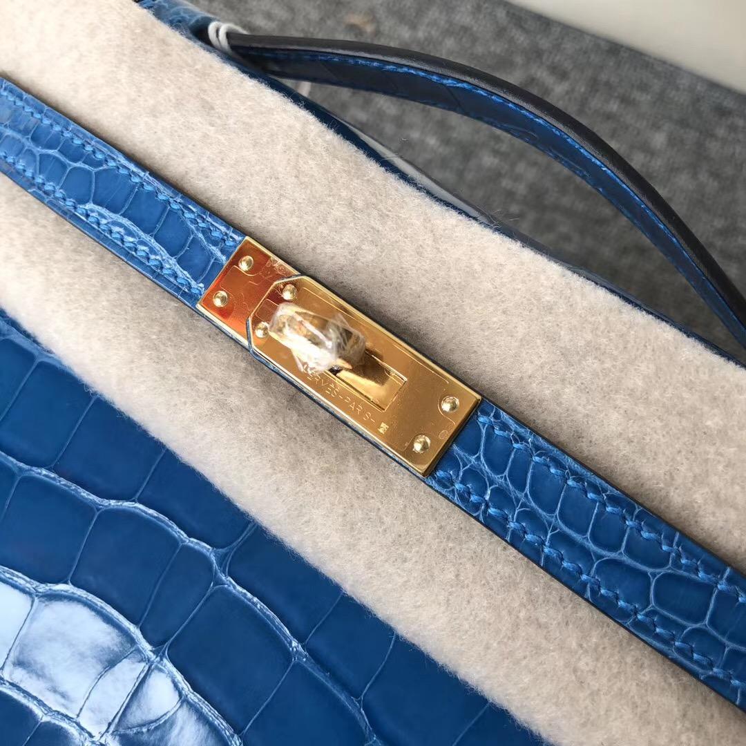 Hermes MiniKelly Pochette 亮面方塊 美洲鱷 7Q希臘藍 Blue Mykonos
