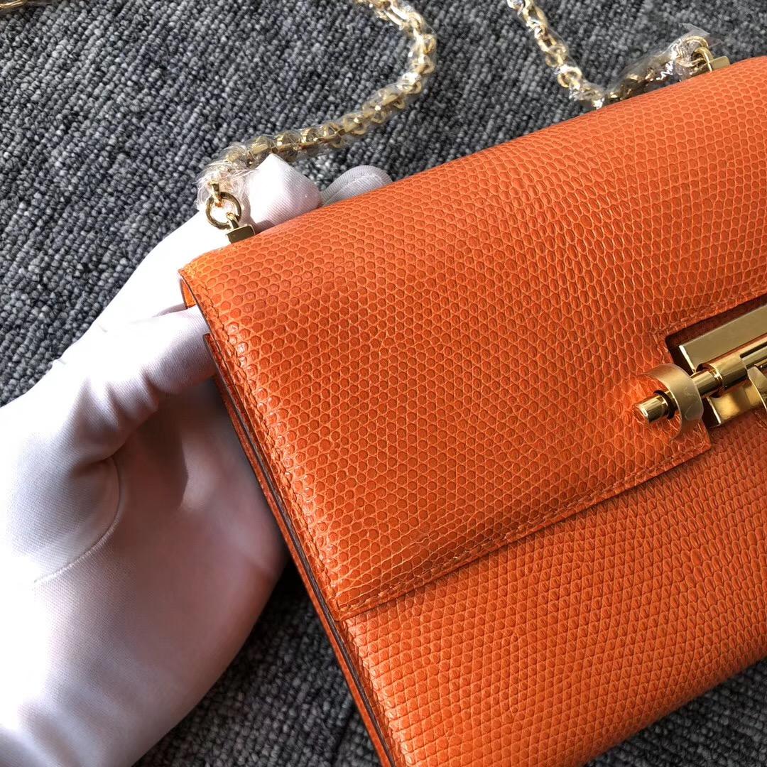 Los Angeles USA Hermes Verrou 17.5cm Lizard 蜥蜴皮 9J火焰橙