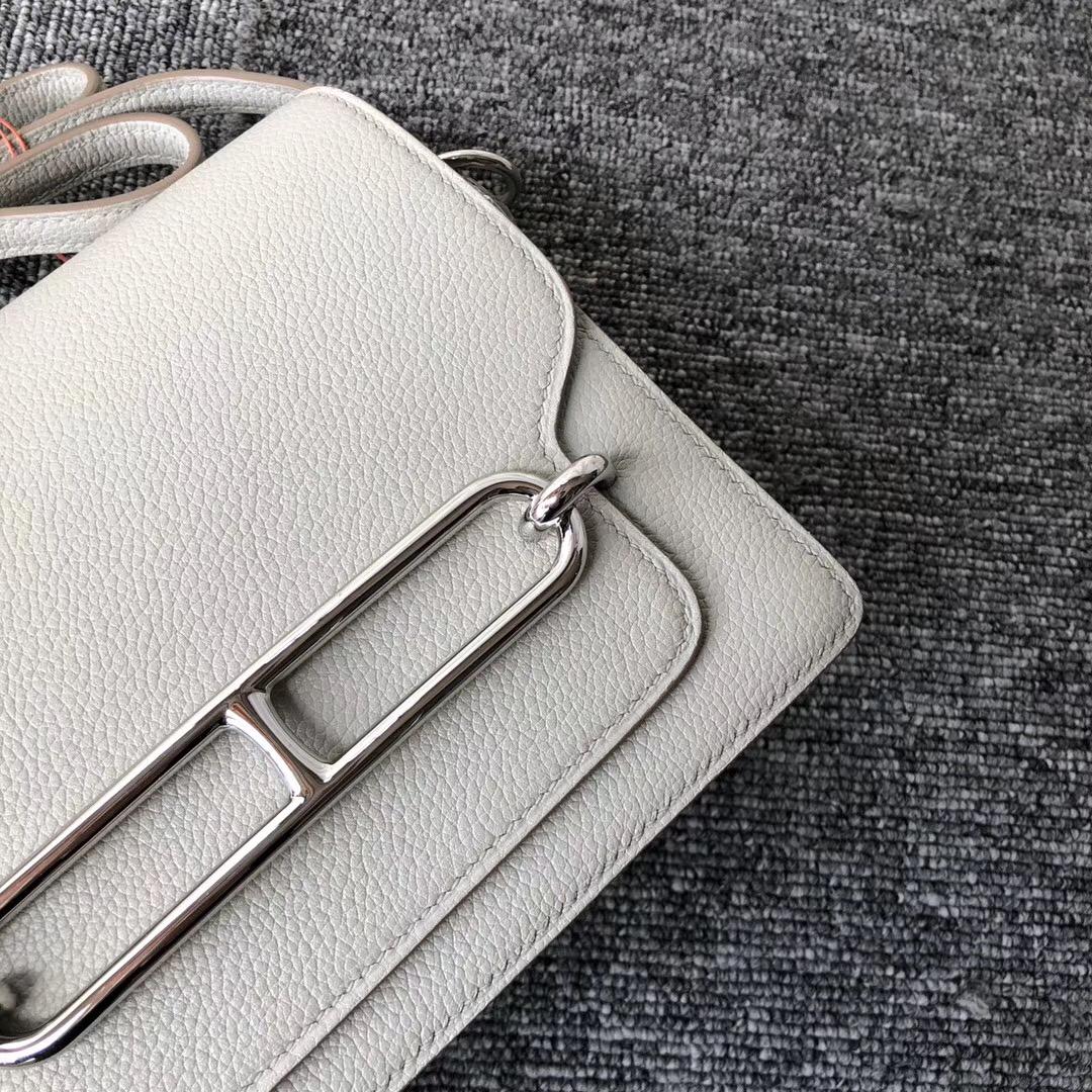 愛馬仕豬鼻子包定制 Hermes Roulis 19cm Evercolor CK80珍珠灰 grey pearl