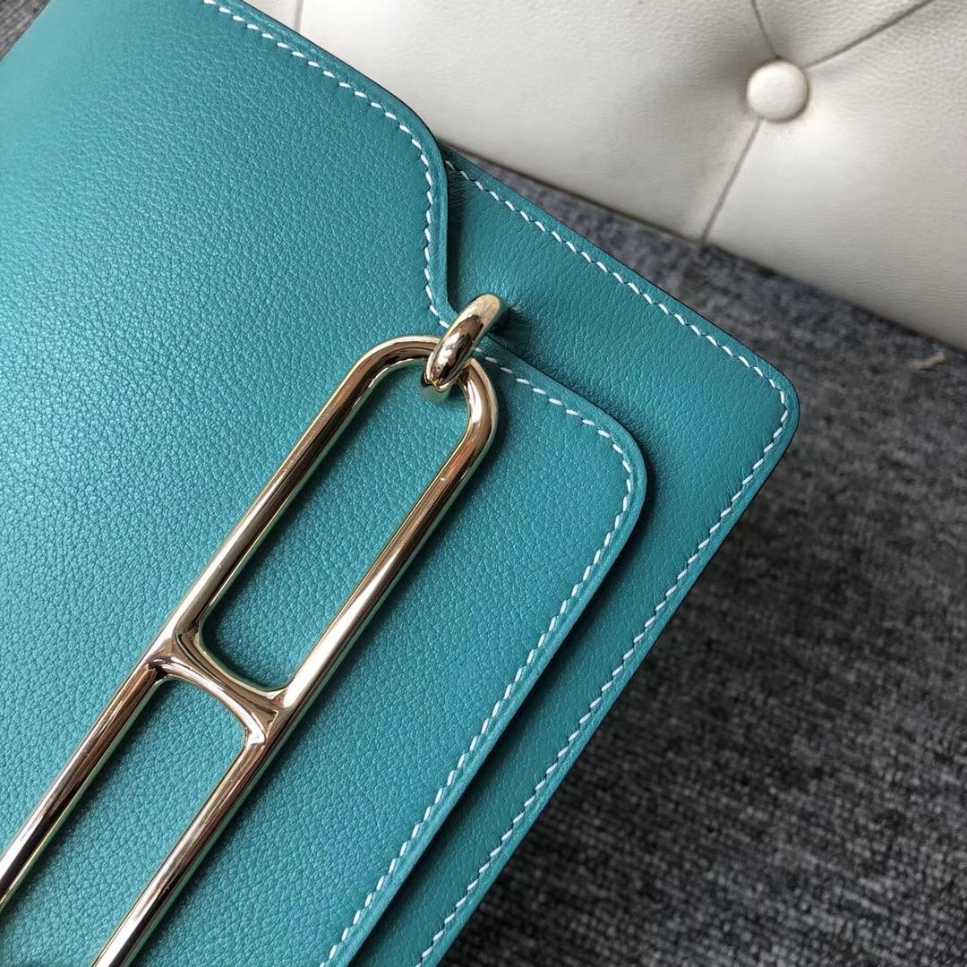 愛馬仕豬鼻子包包價格 Hermes Roulis 19cm Evercolor 7V Lagvw 湖水綠 湖水綠藍