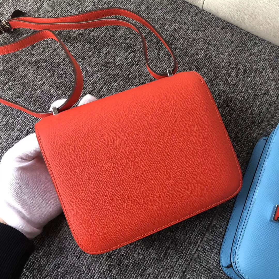 Los Angeles USA Hermes Constance 19cm S3心紅色配 X9錦葵紫 琺瑯扣