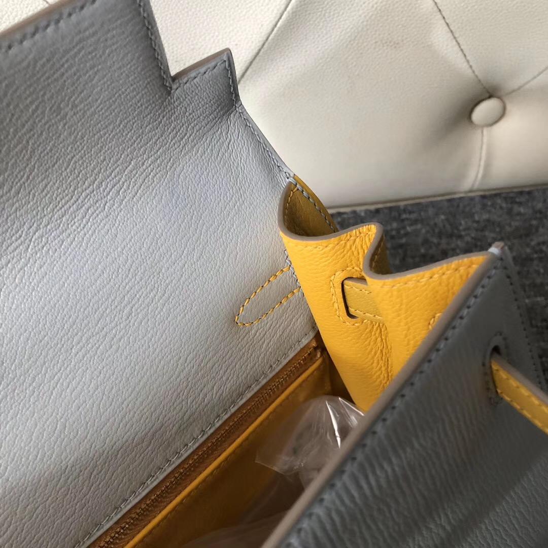 Hermes Kelly 25cm Hss Chevre CK80 Grey Pearl 珍珠灰 9D Amber 琥珀黃