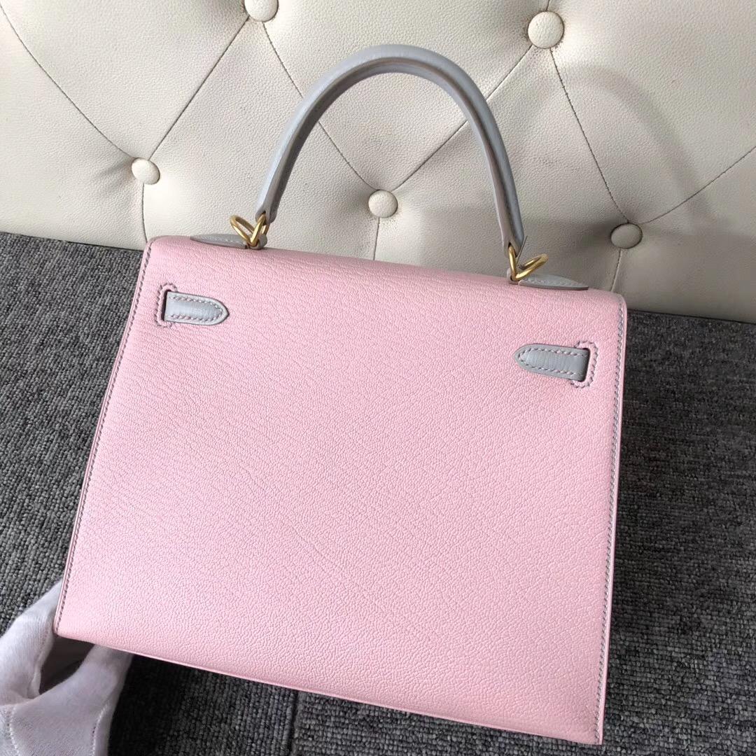Hermes Kelly 25cm Hss Chevre 3Q Rose Sakura CK80 Grey Pearl 珍珠灰