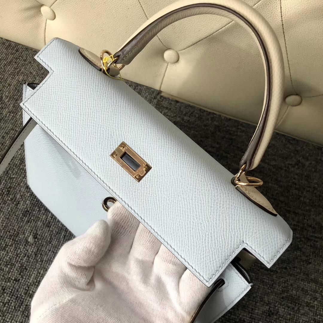 Hermes Kelly 25cm Hss Epsom T0 Blue Brume 霧藍色/CK10 craie 奶昔白