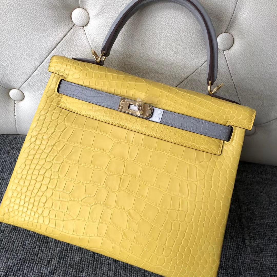 Taiwan Hermes Kelly 25cm Hss So 9R檸檬黃 lemon CK80 Pearl Grey 珍珠灰