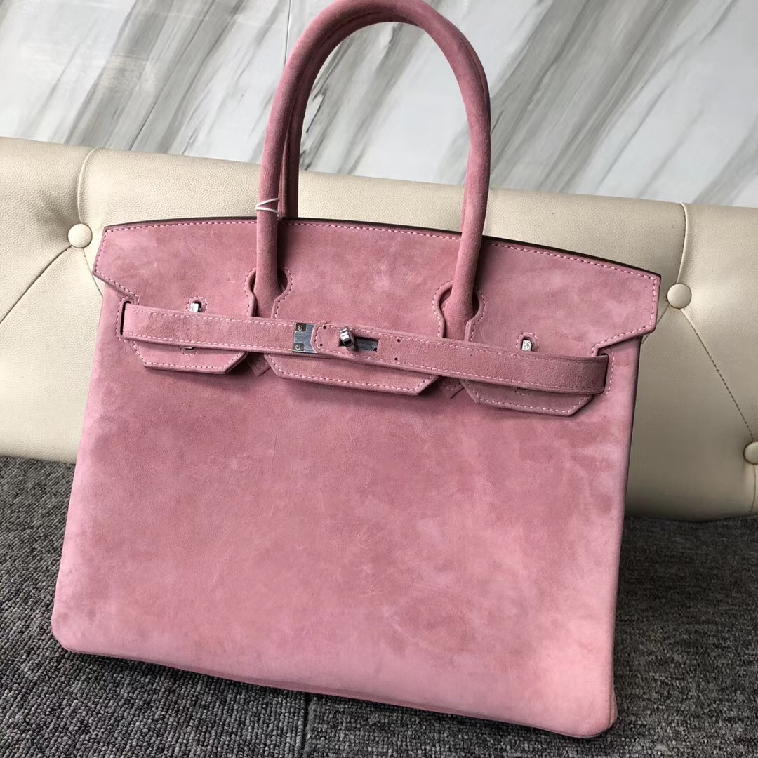 Hong Kong Hermes Birkin 30cm 麂皮 羊皮反絨 1Q Rose Confetti 奶昔粉