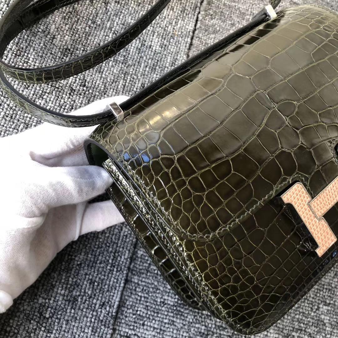 Hermes Constance 19cm Crocodile 6H Olive green 橄欖綠 CK14 beige 蜥蜴扣