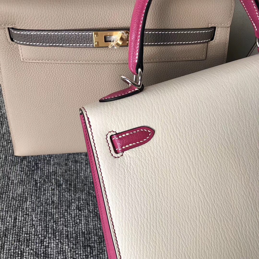 臺灣嘉義市 Hermes Kelly 25cm Chevre CK10 Craie L3 Rose Purple