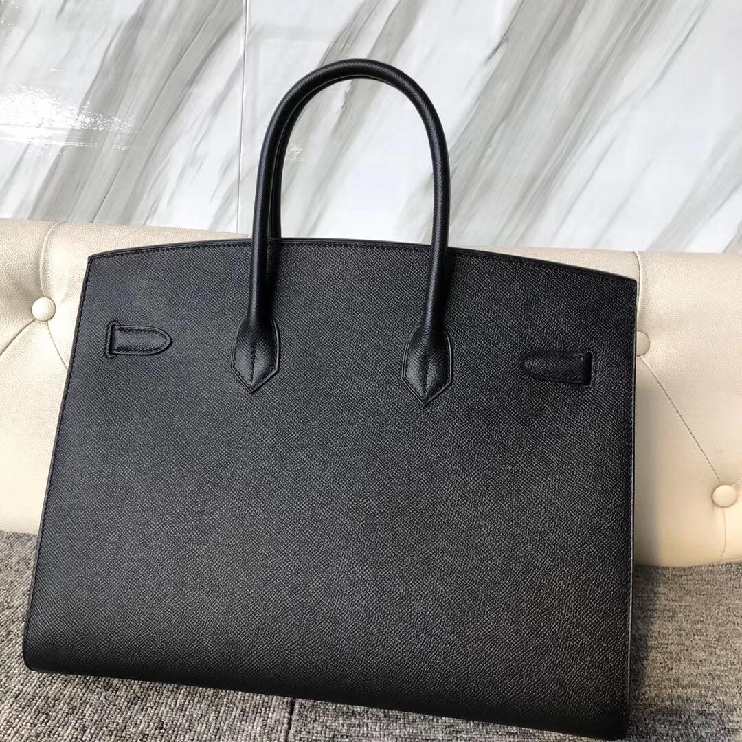 臺灣臺中市Hermes Birkin Sellier 35cm 外縫 Epsom CK89 black 黑色