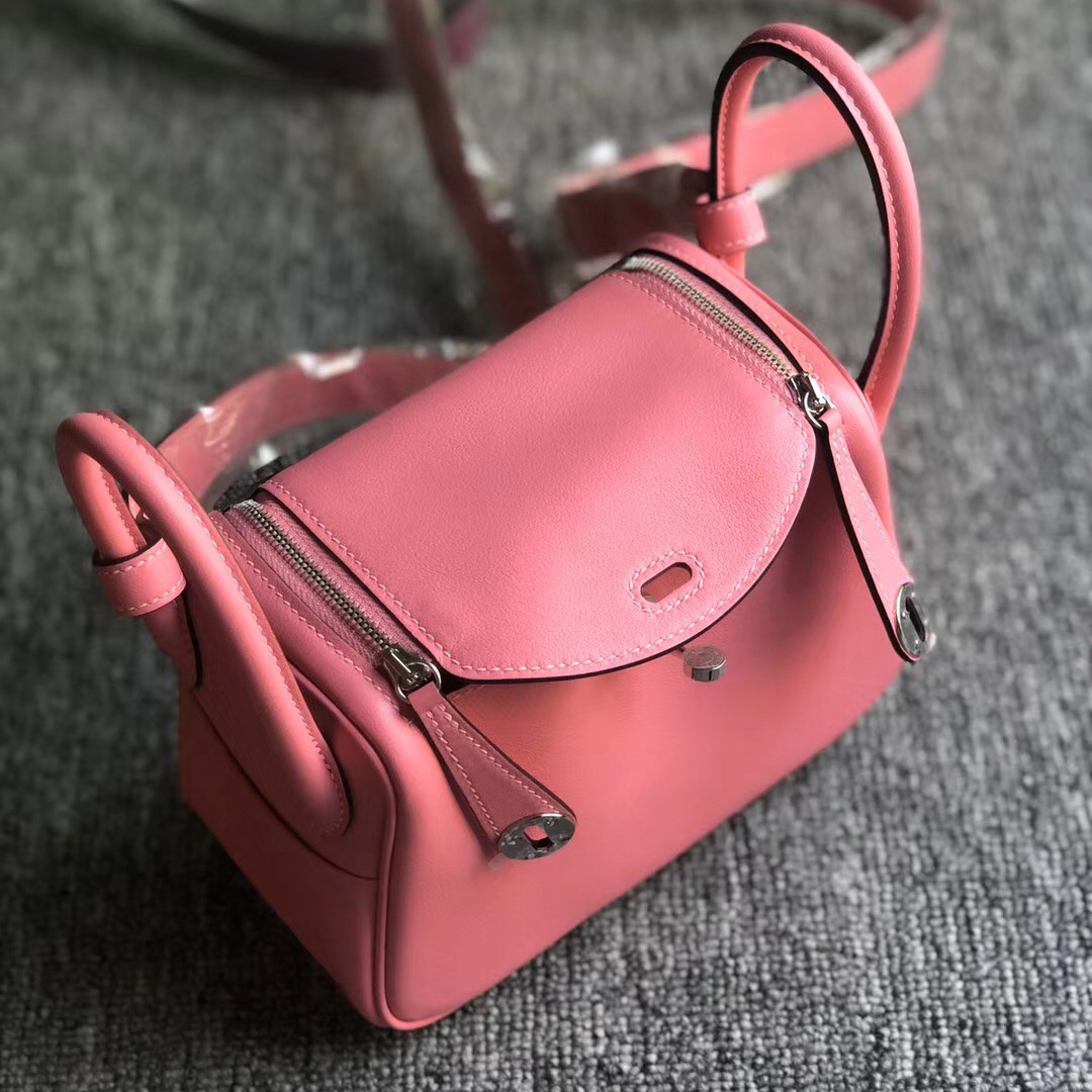 香港北區愛馬仕mini lindy多少錢 Hermes Lindy mini 8W Rose Azalee 新唇膏粉