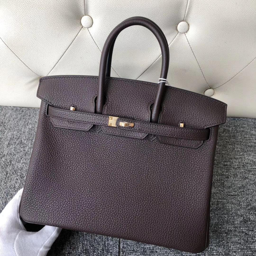 香港島中西區鉑金包 Hermes Birkin 25cm togo ck47 chocolate 巧克力色